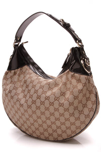 Gucci Full Moon Hobo Bag Signature Canvas Patent Beige Black