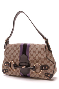 Gucci Tom Ford Horsebit Shoulder Bag Signature Canvas Beige Black Purple