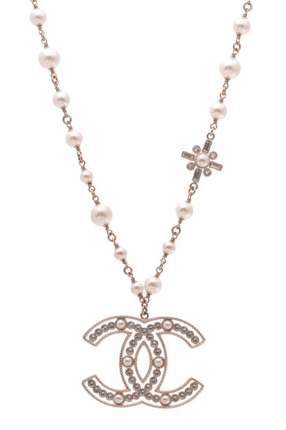 Chanel Pearl Crystal CC Necklace Gold