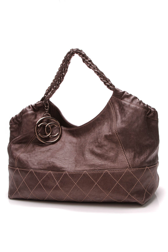 Chanel Baby Coco Cabas Tote Bag Khaki Brown