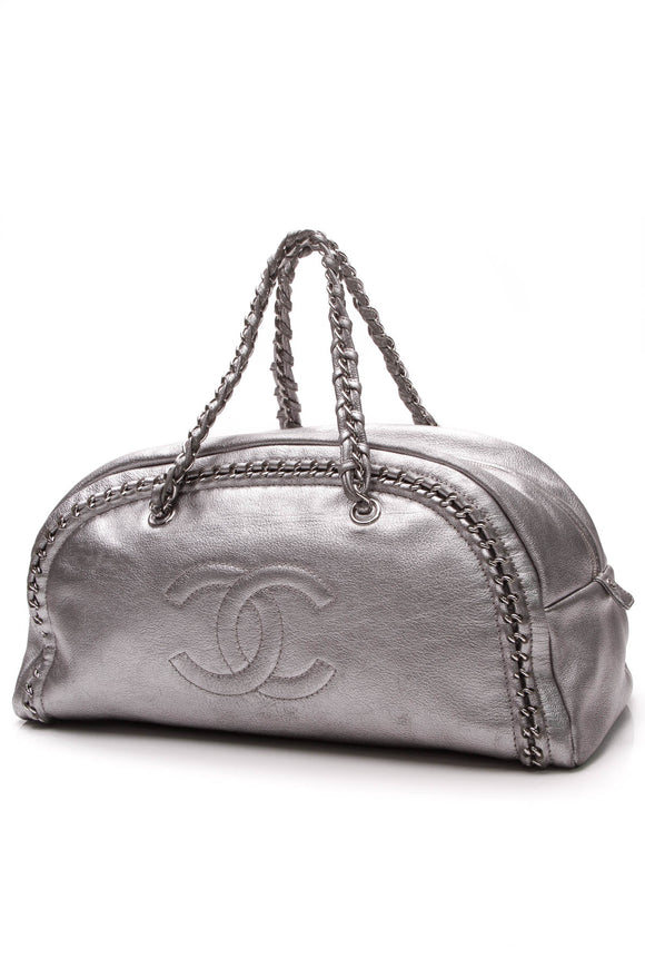 Chanel Luxe Ligne Large Bowler Bag Metallic Silver Goatskin