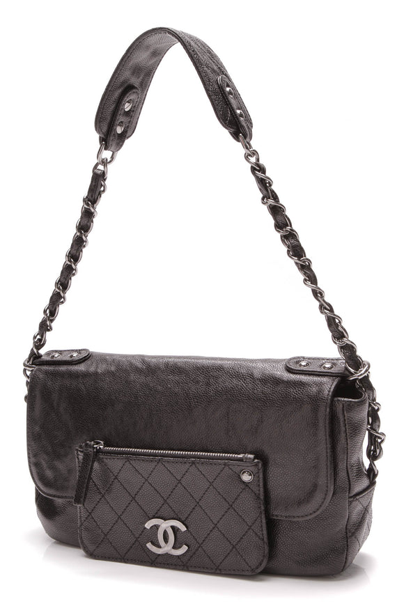 Chanel Pocket In The City Small Shoulder Bag Black Glazed Caviar