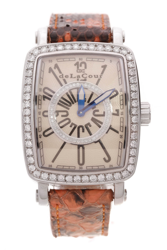 deLaCour Diamond Via Larga Watch Steel Orange