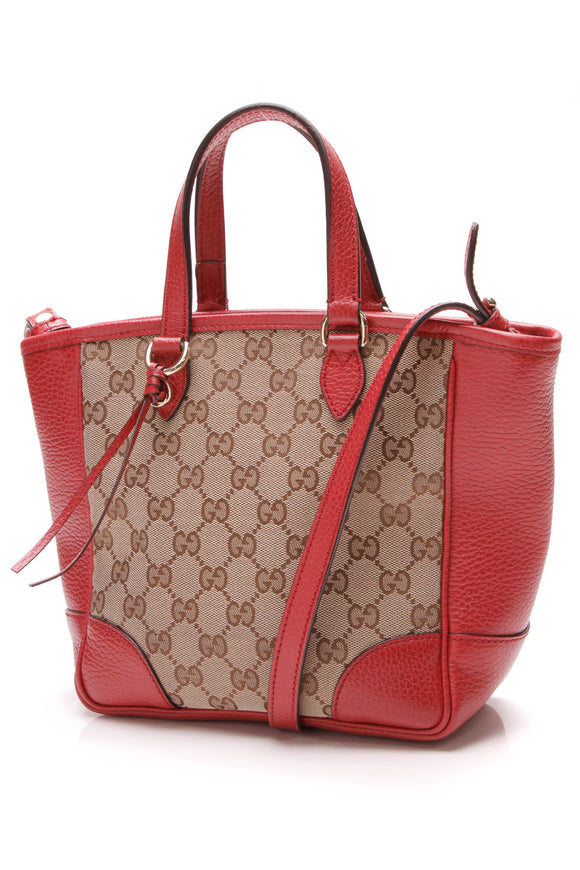 Gucci Bree Mini Tote Bag Signature Canvas Red