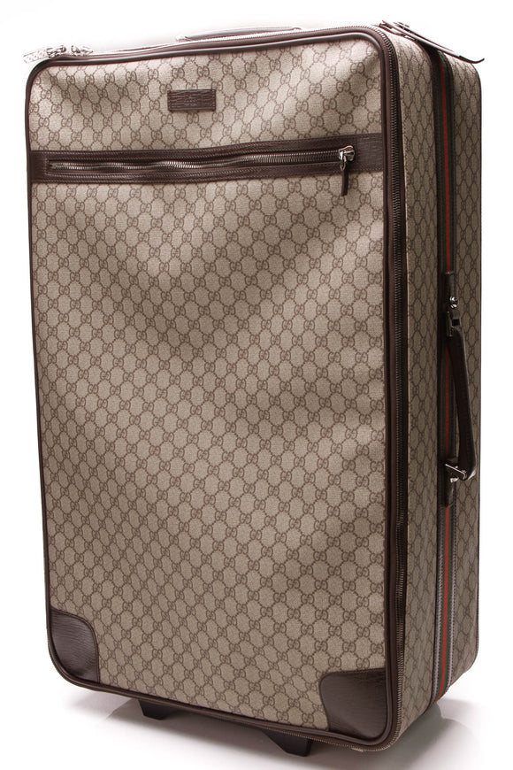 Gucci Web Trolley Large Suitcase Supreme Canvas Brown