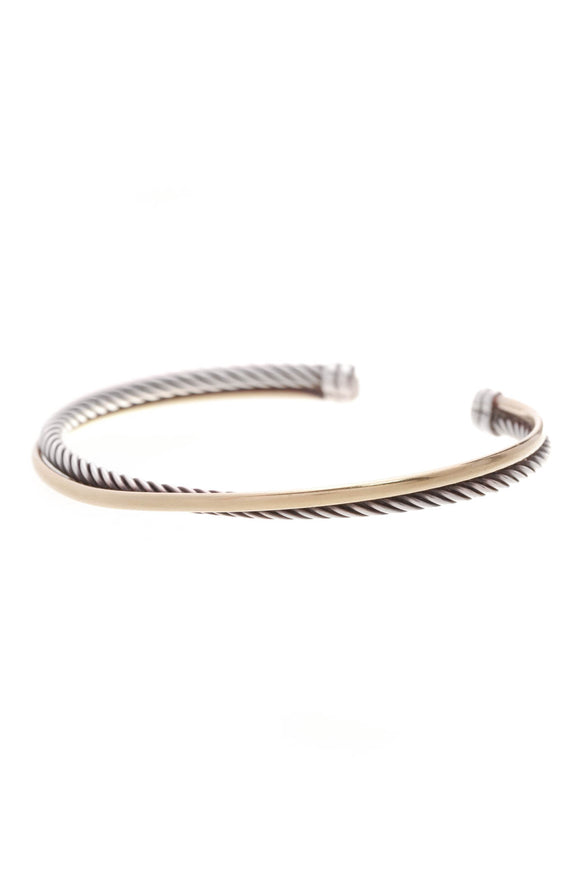David Yurman Crossover Cuff Bracelet Silver Gold