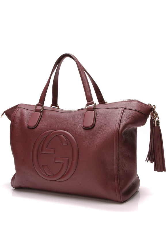 Gucci Soho Large Zip Tote Bag Burgundy