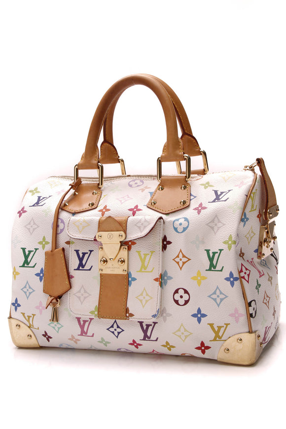 Louis Vuitton Speedy 30 Bag White Multicolore Monogram