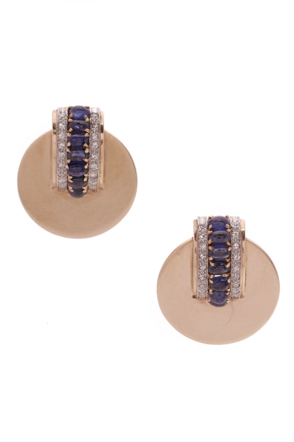 Diamond Sapphire Estate Disc Earrings Gold Platinum