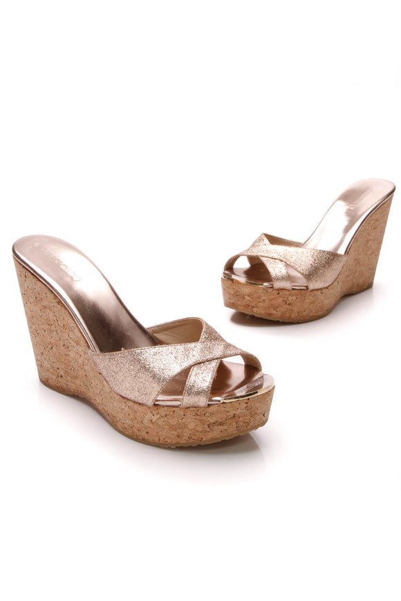 Jimmy Choo Perfume Glitter Cork Wedge Sandals Gold Size 40