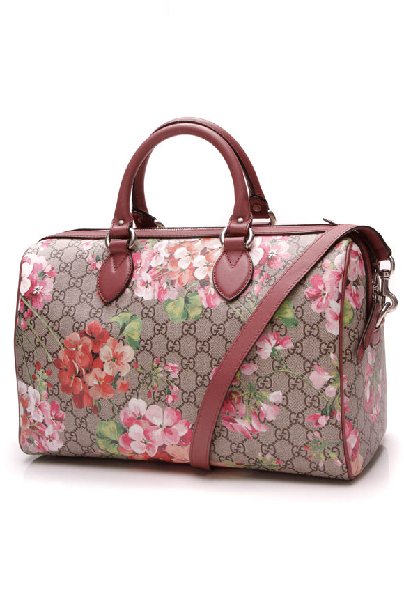 Gucci Blooms Medium Boston Bag Supreme Canvas Pink