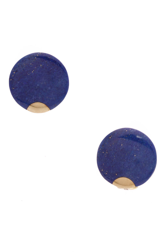 Tiffany & Co. Vintage Lapis Lazuli Disc Earrings Yellow Gold