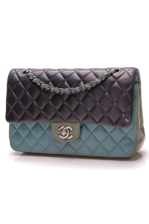 Chanel Classic Medium Double Flap Bag Tri-Color Lambskin Blue Teal Green