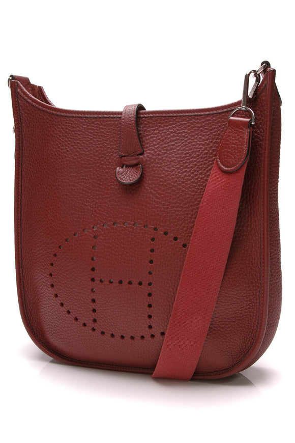 Hermes Evelyne I PM Bag Rouge H Clemence Burgundy