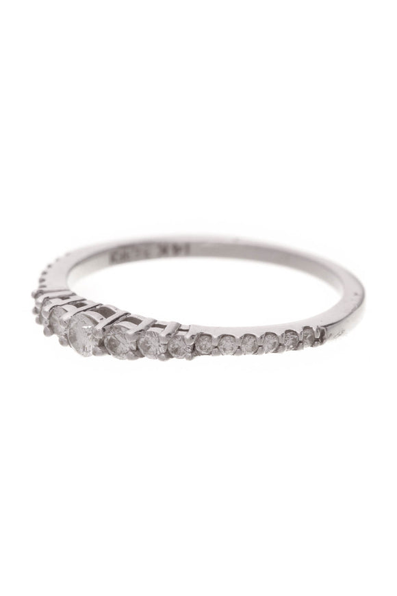 Effy Pave Diamond Classic Band Ring White Gold Size 7