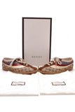Gucci Falacer Bee Men's Sneakers Signature Canvas Size 8.5 Beige