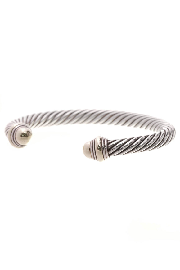 David Yurman 7mm Dome Cable Bracelet Silver Gold