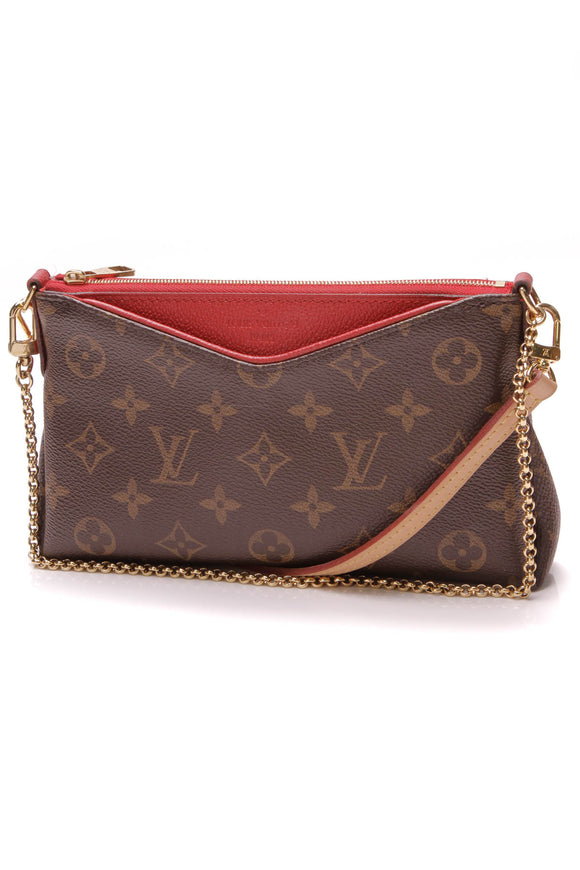 Louis Vuitton Pallas Clutch Crossbody Bag Monogram Poppy Brown Red
