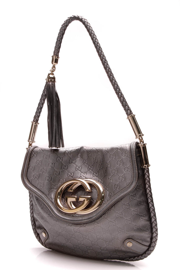 Gucci Britt Shoulder Back Gunmetal Guccissima