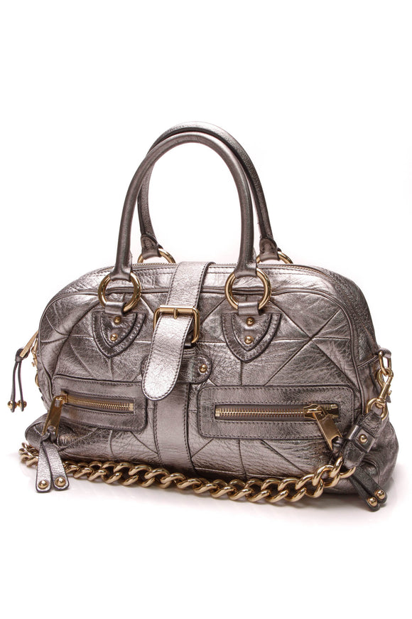Marc Jacobs Patchwork Venetia Bag Metallic Silver