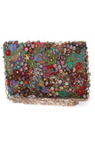 Oscar de la Renta Petite Embroidered Evening Bag Multicolor Satin