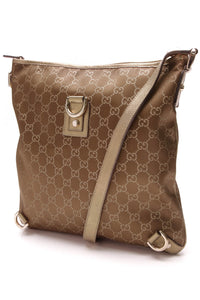 Gucci Abbey D-Ring Messenger Bag GG Satin Gold Brown