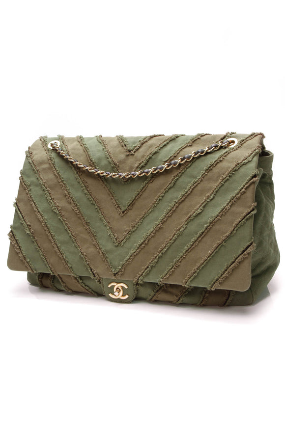 Chanel Cuba Patchwork XL Bag Olive Green Canvas