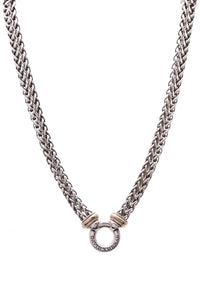 David Yurman Double Wheat Chain Donut Necklace Silver Gold