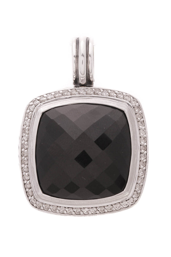 David Yurman 20mm Black Onyx Diamond Albion Pendant Silver