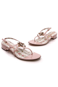 Gucci Bee Heeled Sandals Pink Patent Size 38