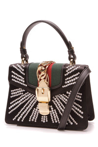 Gucci Embellished Mini Sylvie Bag Black Satin