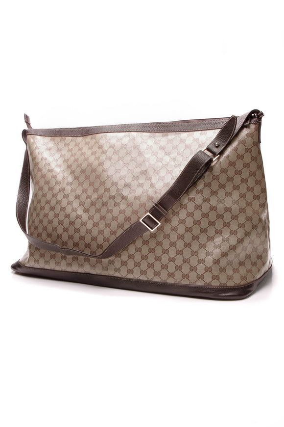 Gucci XL Duffle Bag Crystal Canvas Beige