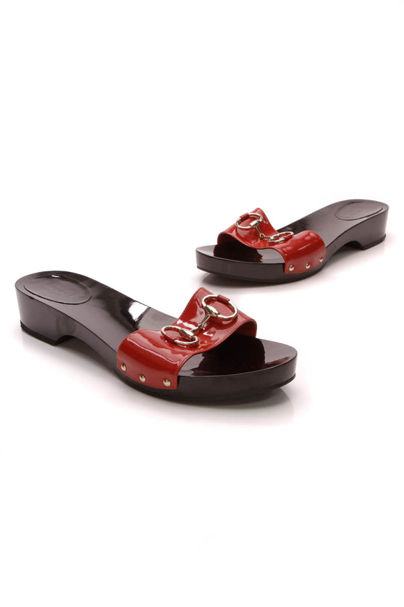 Gucci Horsebit Wooden Slide Sandals Patent Size 11 Red Orange