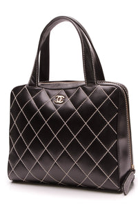 Chanel Wild Stitch CC Large Satchel Bag Black Calfskin