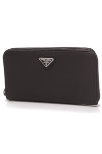 Prada Tessuto Continental Zip-Around Wallet Black Nylon