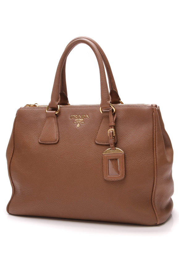 Prada Vitello Daino Double Zip Tote Bag Brown