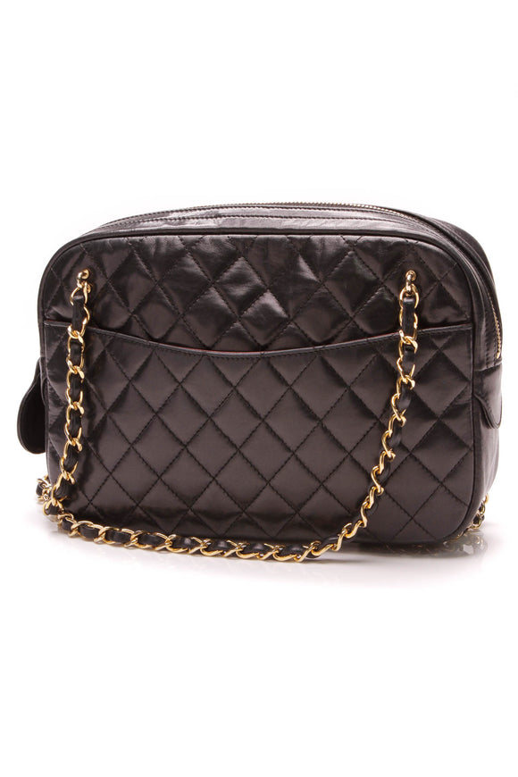 Chanel Vintage Quilted Camera Bag Black