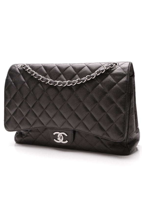 Chanel Classic Double Flap Bag Maxi Black Caviar