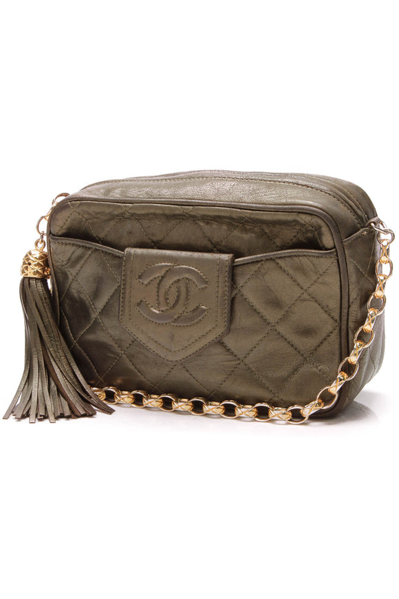 Chanel Vintage Quilted Camera Bag Metallic Green