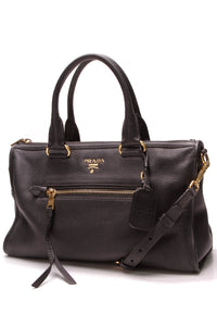 Prada Vitello Daino Zip Tote Bag Black