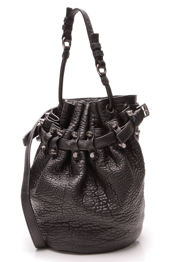 Alexander Wang Diego Bucket Bag Black Pebbled Lambskin