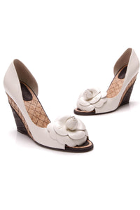 Chanel Camellia D'Orsay Peep-Toe Wedges Ivory Leather Size 38