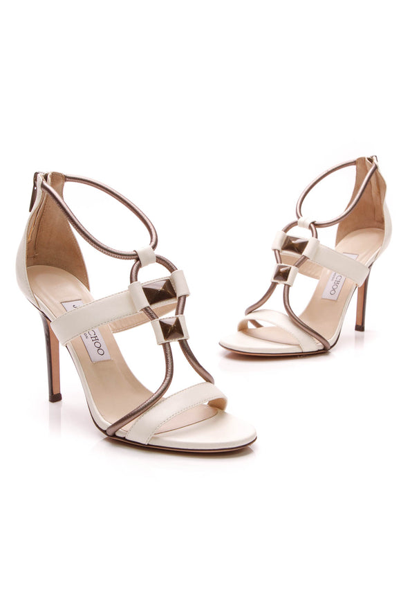 Jimmy Choo Strappy Heeled Sandals Ivory Bronze Size 37.5