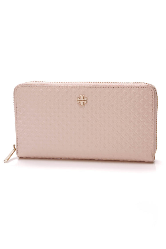 Tory Burch Marion Embossed Zip Continental Wallet Shell Pink Patent