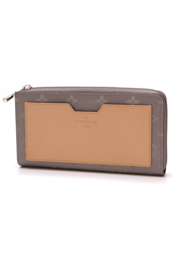 Louis Vuitton Cosmos Zip Wallet Titanium Monogram Gray Tan