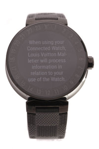 Louis Vuitton Tambour Horizon 42mm Connected Men's Watch Black Steel Damier Rubber