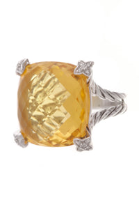 David Yurman Diamond Citrine Cushion On Point Ring Silver Size 6.25