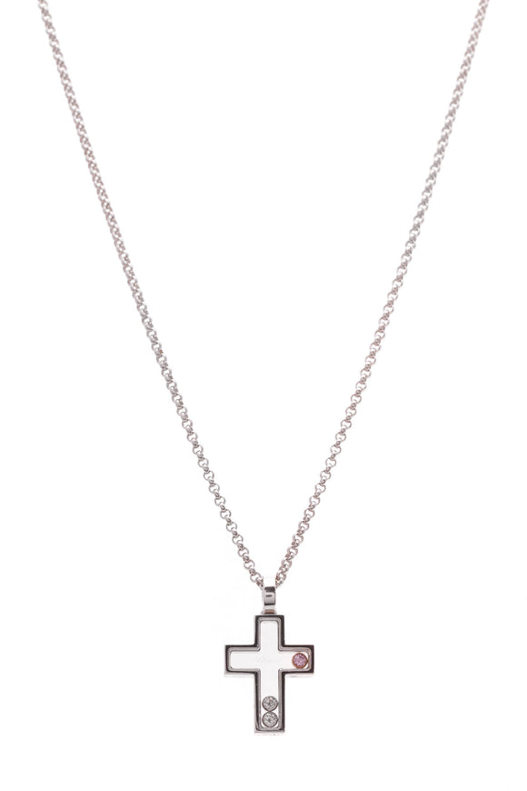 Chopard Diamond Pink Sapphire Happy Cross Pendant Necklace White Gold