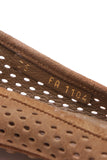 Louis Vuitton Perforated Oxford Ballerina Flats Cognac Suede Size 35 Tan