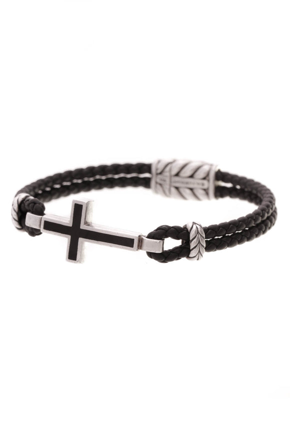 David Yurman Black Onyx Exotic Stone Men's Cross Bracelet Silver